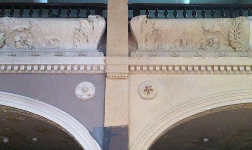 Villa Elisabeth (2013) : alter Zustand und Musterachse Freilegung der ursprünglichen Farbfassung