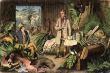 """Holzstich (1870) von Otto Roth """"Alexander von Humboldt und Aimé Bonpland in der Urwaldhütte am Orinoco"""" © bpk"""